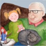 Grandpa, Granddaughter, Animals: cats, and doll