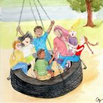 Children Playground, Multicultural and Diversity, Asian American, Hispanic child, and swinging