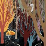 Boy lost in the forest. and and a nocturnal owl.