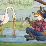Aesop fable, crane, and fox