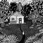 Scratchboard, grandmother, forest, and trees