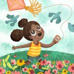 adventuresome girl, Kite Flying, and   flowers