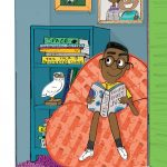 child reading, family humor, Black, and messy room