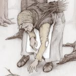 Old Lady, medieval, gathering, sticks, poverty, cold,   forest, fairytale, and Folktale