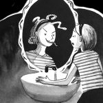 mirror, middle grade,  girl heroes, and bathroom