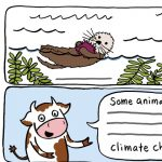 Climate change, nonfiction, Cows, and  comic
