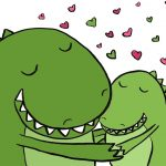 dino, dinosaur, and Love between parent and child