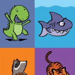 shark, sharks, wearing glasses, smart animal, raccoon, dinosaur, dino, Tiger, and board book