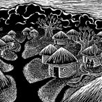 Scratchboard, village, Africa, and path