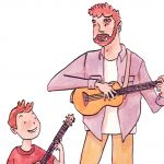 ukulele, and making music., and Contemporary family