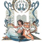 arabian nights, prince and princess fairytale, Nontraditional Princesses, a motivational reading book for young children, bengal tiger, best friends, art nouveau, and beautiful