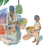 Childrens art, childrens book, Indian culture, India, and Fruits and Vegetables