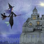 Magic, mermaid, children's books mermaid, little witch, Halloween, Haunted House, and Haunted Mansion