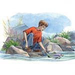 river, boy fishing, and trout