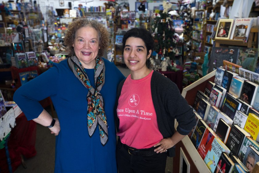 Photo of Maureen Palacios, owner of Once Upon a Time Bookstore in Montrose, CA, with her daughter Jessica Palacios.