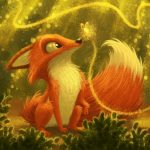 baby fox, fox,  forest, and Magic