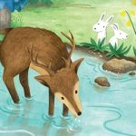 Deer in the Forest, river, children in nature,  forest, and exploration