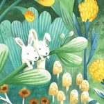 Bunny, children in nature, flowers, and forest