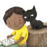black boy, Animals: cats, Drawing, and Friendship
