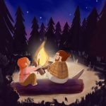 campfire, summer, summer activities, camping, and  forest