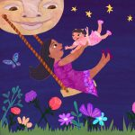 Mom and Baby, swing, and Full Moon
