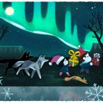 christmas, aurora borealis, Wolves, and people