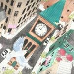#Children's book,  watercolors, and City & Town Life