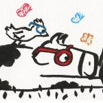 wearing glasses, Glasses, eyeglasses, cow, Bedtime reading, bird, and Reading, beach read, butterfly, butterflies, and bird