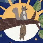 squirrel, squirrels, bat, bats, At Night, night and day, Stars, Full Moon, Sun, Sun and Moon, and clouds