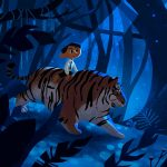 Tiger,  forest, and night time