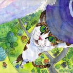 cats, flying,  hats, witches, and perspective