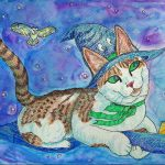 cats, witches, Cat at night, barn owl, flying, and broom