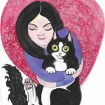 Animals: cats, art for girls, little girl and cat, and  love