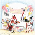 Aesop's Fables, stork, fox, birthday party, and Illustration for 'Kids Book Review'